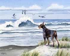 RED DOBERMAN At The Beach Dog Watercolor Art Print от k9artgallery