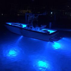 No sunlight? No problem! Shadow-Caster lights up this Center Console boat with 4 SCM-10 underwater lights in Bimini Blue and LED deck lights.
