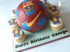 Hand carved 3d Barcelona football cake with matching cupcakes