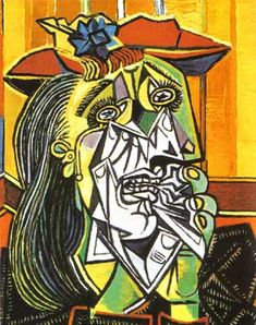 Picasso.  This work so richly conveys abject despair, such visceral pain that the entire physical self is fractured and torn to bits.  Genius ...