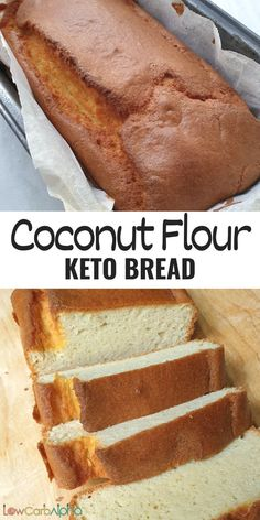 Easy keto gluten free bread made with coconut flour. Simple low carb bread prepared with grain free ingredients #lowcarb #keto #bread #lowcarbalpha Low Carb Recipes, Baking Recipes, Dessert Recipes, Baking Tips, Muffin Recipes, Recipes Dinner, Cheap Meals, Easy Meals, Cheap Recipes