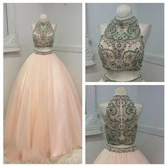 Ball Gown Two Pieces Prom Dress,Long Prom Dresses,Charming Prom Dresses,Evening…