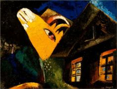 The cowshed - Marc Chagall, 1917, Wikipaintings