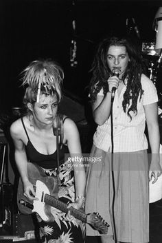 Musicians Ari Up (right) and Viv Albertine, with their band 'The Slits' on stage…
