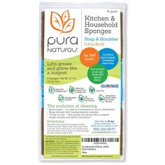 Amazon.com: Pura Naturals Stink Free Cleaning Sponges Inhibit Bacteria. Stay Fresh NO ODOR Guarantee! Eco Kitchen/Household/Dish Sponges w/Walnut Scrubbers. 40x more durable. (6-pack   48 Hour Infused Soap Blast): Health & Personal Care