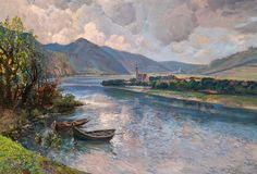 Karl Vikas (1875-1934),  Vallée de la Wachau avec vue de Mautern.