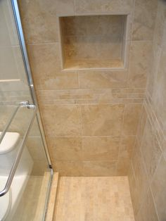 Bathroom: Simple And Neat Picture Of Small Bathroom Shower Decoration Using  In Wall Tile Shower Shelving Including Stand Up Shower And Cream Travertine  Tile ...