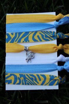 5e1bdff361bd 7 Pack Blue Gold UCLA Bruins charm paw print Animal Hair Ties bracelet  Stretch Fold Over Elastic