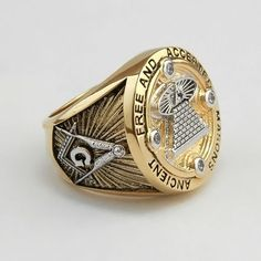 Masonic Ring All Seeing Eye 18K Yellow Gold Plated AAA stones Freemasonry New in Jewelry & Watches, Men's Jewelry, Rings | eBay