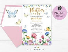 Watercolor ButterFly Baby Girl Baby Shower by PeridotPrints 1st Birthday Invitations, Diy Invitations, Baby Shower Invitations, Butterfly 1st Birthday, Butterfly Baby Shower, Butterfly Kisses, Butterfly Invitations, Butterfly Watercolor, Wishes For Baby