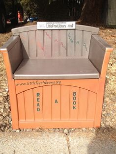COLORADO, Arvada #3950. How about this? A storage bench turned into a Little Free Library! Talk about multi-tasking...