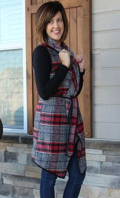 Long Red and Black Plaid Vest with Tie Waist