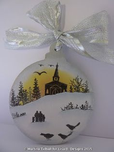 MDF bauble decorated by Martina Tidball. Card-io stamps & Distress inks.