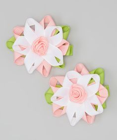 Look at this Pink & White Flower Clip - Set of Two on #zulily today!