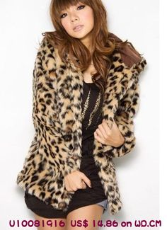 Sexy Leopard Winter Fur Coat Hooded,US$ 14.86 on wd.cm.