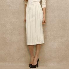 Ralph Lauren Blue Label Beige Pinstriped Pencil Skirt
