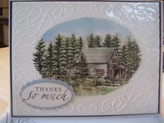 Thank you card done with a cuttlebug embossing folder, stampscapes scenic stamps, stampin up stamp and punches and ink.