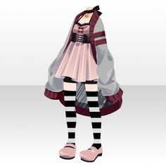 (Tops) Cute Choker One-Piece ver. Fashion Line, Girl Fashion, Fashion Outfits, Fashion Design, Anime Outfits, Cool Outfits, Drawing Anime Clothes, Anime Dress, Character Outfits