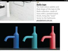 Colored water taps.