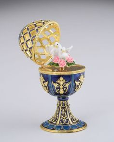 Golden Blue Faberge Egg with White Doves