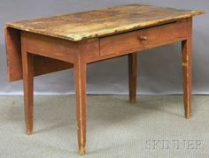 Red-painted Pine Single Drop-leaf Table with Tapering Legs