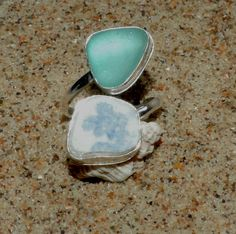 Sea glass and sea pottery silver ring