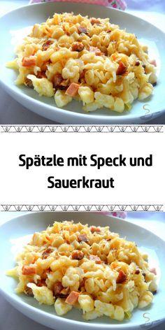 Ein leckeres Rezept für eine Spätzlepfanne mit Speck und Sauerkraut! German Recipes Dinner, Dinner Recipes, Prepper Food, Spatzle, Entrees, Macaroni And Cheese, Cooking Recipes, Cooking Ideas, Brunch