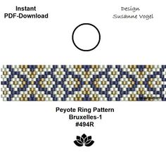 DETAILS: 1. Bruxelles-1 #494R - endless pattern 2. Bruxelles-2 #494R - adjustable ring length Peyote ring pattern - odd count Sizes: 1,5 cm x 6,9 cm / 0.58 x 2.72 (1+2) Beads: Miyuki Delica 11/0 PREVIOUS KNOWLEDGE: Peyote stitch The patterns do not include instructions for how to do