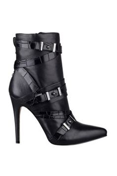 """GUESS """"Parley"""" Pointed-Toe Buckle Booties in Black Multi Leather"""