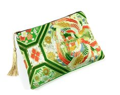 Green Gold Obi Bag with Gold tassel,   pattern, Clutch bag, Upcycled from Vintage Japanese silk Obi.Japanese, gift for her ,wedding by SewEasyNewYork on Etsy