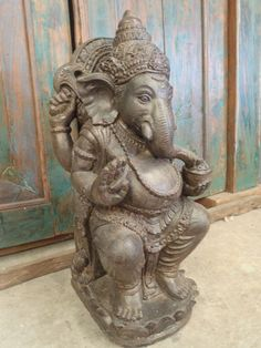 Balinese Ganesha Hindu Elephant Garden Statue Sitting Cement Casting