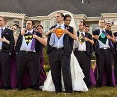 Of course my groom would have to be in the Batman shirt. I would love a picture like this.
