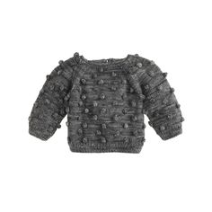 Baby Misha and Puff popcorn sweater in graphite.