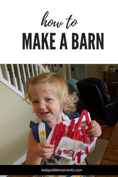 Start off your farm theme right! Great for toddlers and preschoolers, create this fun little barn with your littles! Simple process craft that will have them being proud of what they created. Activities For 1 Year Olds, Activities To Do, Barn Crafts, Little Barn, Farm Theme, 2 Year Olds, Winter Fun, Toddler Preschool, Kids Learning