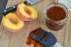 By adding peach to traditional southern BBQ flavors, this savory Peach BBQ Sauce is sure to spice up any cook out. Add it to your favorite meats as a marinade or a dip. It pairs best with pork and chicken. Barbecue Sauce Recipes, Barbeque Sauce, Bbq Sauces, Peach Bbq Sauce Recipe, Chef Cuistot, Salsa Barbacoa, Apple Dump Cakes, Marinade Sauce, Pepper Jelly