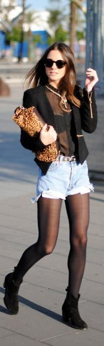 leopard and jean street style  Like everything but the leopard