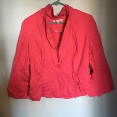 ❤SALE❤Hot pink blazer Super cute hot pink blazer from cAbi, can be worn closed or opened. Faux pockets on front and two buttons on both sleeves. Sleeves come about 3/4 from my wrist, cute and sassy just not my style! Peplum waist. Wrinkled some but can be steamed out❌NO TRADES❌ CAbi Jackets & Coats Blazers