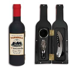 Enjoy this innovative wine tool set in the shape of a wine bottle. It can be personalized on the imprinted label. Bottle Stoppers, Bottle Opener, Wedding Wine Bottles, Mini Bottles, Door Locks, Leather Journal, Tool Set, Creative Gifts, Wine Rack