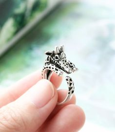 Giraffe Ring Antique Silver Ring Adjustable Ring AR-37 Animal Ring