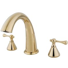 Elements of Design Double Handle Deck Mount Roman Tub Faucet Trim Buckingham Lever Handle Finish: Polished Brass