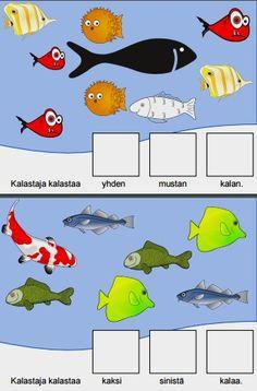 Tässä oppimistarinassa ollaan kalastajan matkassa. Tehtävässä tunnistetaan ja opitaan värejä sekä numeroita.  Tehtävä on tunnistaa sanallisen ohjeen mukaan OIKEA MÄÄRÄ, OIKEAN VÄRISIÄ kaloja.  Lue ohje ääneen kohdehenkilölle hitaasti, korostaen niitä sanoja jotka ovat tehtävän suorittamisen kannalta oleellisia. Tehtävän lopusta löytyy myös kuvallinen ohje, mikäli sanallisen ohjeen seuraaminen on liian vaikeaa tai se muutoin tukee sanallista ohjeistusta.