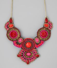 Pink & Red Beaded Bib Necklace
