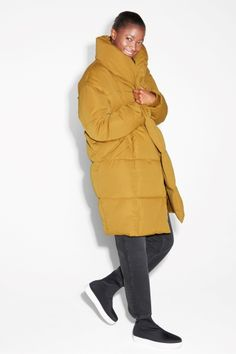 Monki Image 1 of Puff coat in Yellow Dark