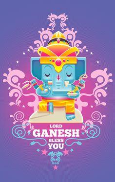 Lord Ganesh Bless You by Alongkorn Sanguansook, via Behance Ganesh Lord, Shri Ganesh, Ganesha Art, Krishna Art, Yoga Studio Design, Buda Wallpaper, Yoga Inspiration, Chakra, Ganesha Pictures