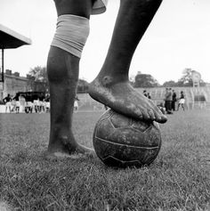 The bare feet of Nigeria's Justin Onwudiwe. The majority of the African side played without boots during their tour of Britain in 1949