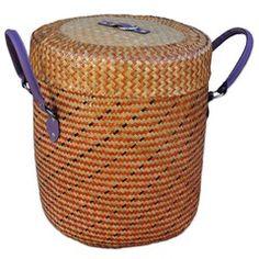 Korb für Wäsche aus Bast orange beige 45cm