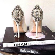 Dreamy Ivory jeweled stelleto....Chanel, wedding shoes, Balenciaga,  rhinestone,  shoes, designer