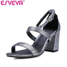 ESVEVA  2017 Western Sandals Summer Gladiator Peep Toe Ankle Strap Square High Heels Real Leather Sandals Woman Wedding Shoes
