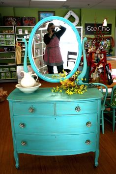 Painted by Eco Chic Boutique.    Painted with Chalk Paint®.    Color: 1part Florence mixed with 1 part Pure White.  Come visit us today to learn more.