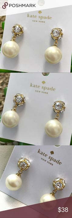 Kate Spade Pearl Drop Earrings NWT. Kate Spade New York Pearl Drop Marmalade Earrings.  simple, sparkling earrings in our shine on collection--made from crystals, glass stone, faux pearls and precious metals--allow you to do just that, every day (and night) of the week. 14k plated metal glass stone closure. Comes with the dust bag. No Trades. Price is Firm kate spade Jewelry Earrings